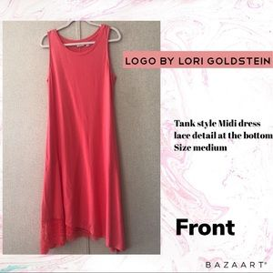 LOGO by Lori Goldstein lace trim dress Med